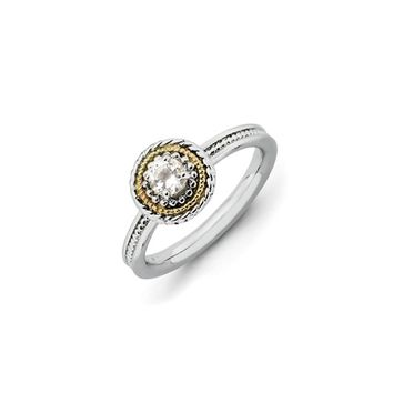 Sterling Silver & 14K Gold Plated Stackable White Topaz Ring
