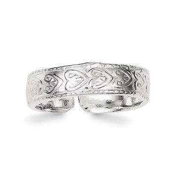 Sterling Silver 4mm Etched Heart Design Toe Ring