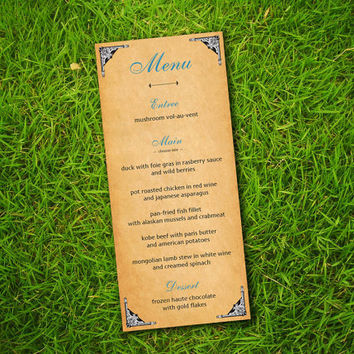 DIY Printable - Vintage Edwardian Classic Victorian Greyish Blue Customizable Menu Card