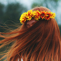 Cinnamon Girl - Flower Crown / Floral Crown / Flower Halo / Flower Headband / Festival Wear / Yellow / Orange / Red / Fiery