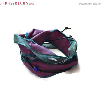 On Sale Boho Silk Wrap Bracelet, Purple Teal Vintage Sari Silk, Leather wrap bracelet, Gifts for her, Boot Bracelet, Free Shipping