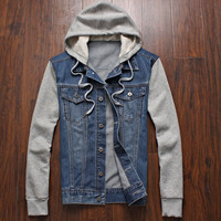 Men's Denim Hooded Sportswear Outdoors Casual Fashion Hoodie Cowboy Jean Jacket