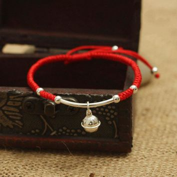 S925 Sterling Silver  Bell  Lucky Red Rope Shamballa Bracelet  Handmade Bangle  Wax String  Amulet High Quality Jewelry