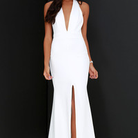 Time Out of Mind Ivory Halter Maxi Dress