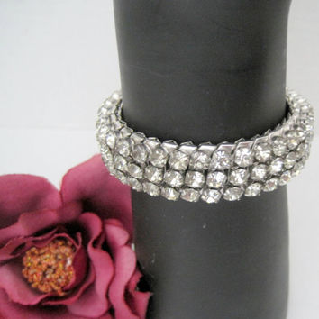 Clear Rhinestone Bracelet - Expandable Hirflex  - Made in USA - Stretch Band