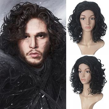 Game of Thrones Jon Snow Male Black Wig Cosplay Adult Role Play Halloween Costume Synthetic Wigs