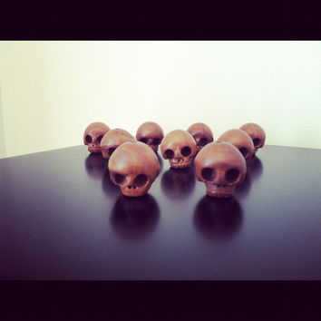 Wooden Wood Skull Beads Jewelry Supply
