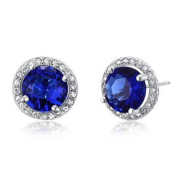 Magnificent navy blue sapphire stud earrings
