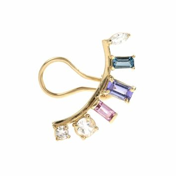 Sunbeam Arc gemstone 14kt gold ear cuff