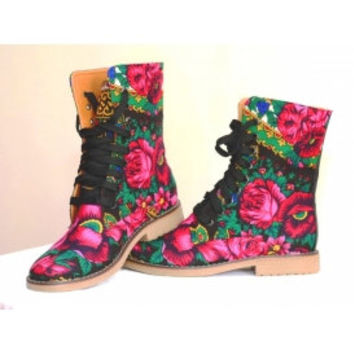 Ethnic Russian Flower Lace up  Boots in canvas flower print Order your Custom size
