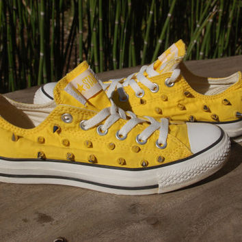 Vintage Studded Converse - Sunshine Yellow