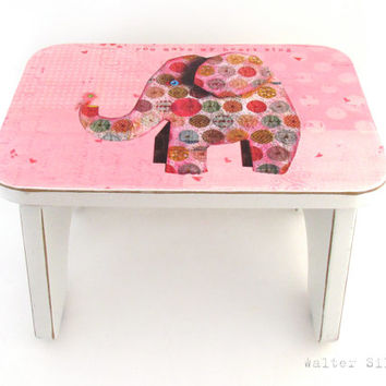 Elephant with Bird Footstool - Shabby Chic Cottage Bench - Pink Polka Dotted Top - Bathroom Stool