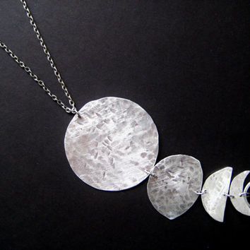 Eclipsed- Lunar Cycle Long Necklace- Moon Phase Pendant Necklace