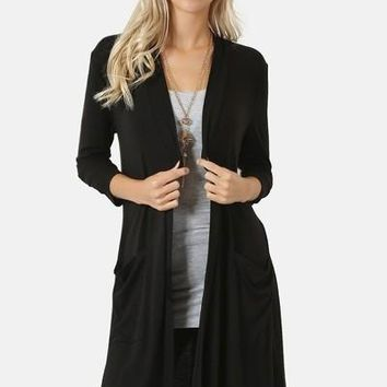 Womens Black Cardigan with Pockets 3/4 Sleeve Open Front Long Duster:  S/M/L/XL