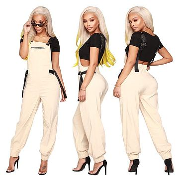 FELICITY Buckle Strap Fitted Ankle Overalls