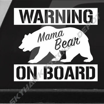 Mama bear on board funny bumper sticker vinyl decal warning de