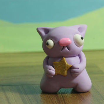Lavender Cat Figurine with Gold Start - Cute Original Designer Toy - Handmade Polymer Clay Sculpture for Kids Teens Adults - Card Included