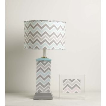 Yessica's Collection Aqua And Grey Chevron Wrapped Square Column Lamp With Drum Shade