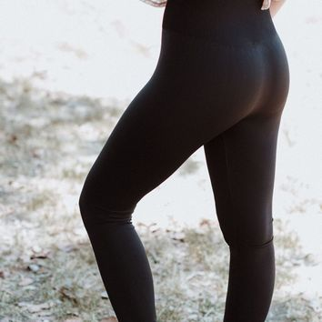 High Waist Slimming Leggings - Black