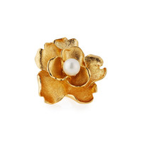 Golden Pearly Flower Cocktail Ring