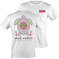 Tees Short Sleeve Preppy Turtle Shells White