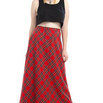 Vintage 70's More, More, More! Plaid Maxi Skirt - XL