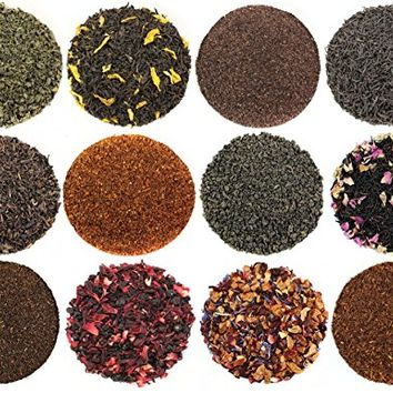 Solstice Tea Traders Loose Leaf Tea Sampler, Ultimate Sampler 12 Types of Loose Leaf Tea, Rooibos, Gunpowder, Chai, and More!