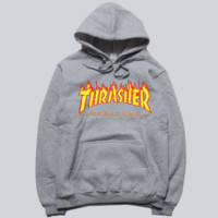 """Thrasher"" skateboard fleece male add wool cotton hoodie flame Grey"