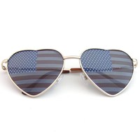 Cute Metal Frame Heart Shaped Independence Day American Flag Sunglasses