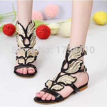 2017 New fashion women's sexy wings women casual flat slip toe sandals buckle Sequins Mixed colors shoes black size 35 - 41
