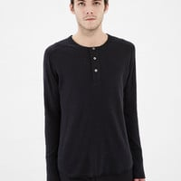Totokaelo - Wings + Horns Black Base Longsleeve Henley Top - $100.00
