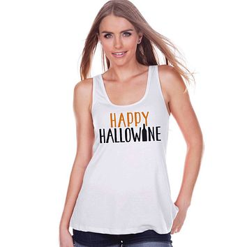 Women's Halloween Shirt - Funny Halloween Costume - Hallowine - Wine Lover Halloween Party Shirt - Adult Halloween Costumes - White Tank Top