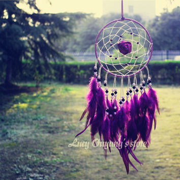 Artistic  New fashion gift big Hot purple Dreamcatcher Wind Chimes Indian Style flower Feather Pendant Dream Catcher Gift