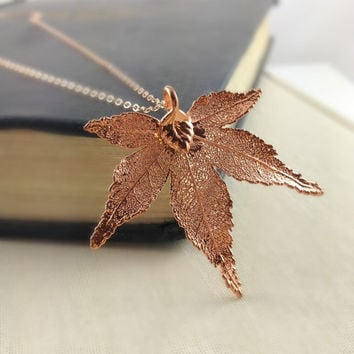 Real Maple Leaf Necklace, 24k Rose Gold Filled, Japanese Maple Leaf, Wedding Jewelry, Mothers Gift, Rose Gold Jewelry, Autumn, Unique Gift