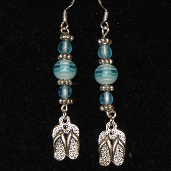 Spring Design - Sterling Silver blue glass beaded dangle earrings - Flip flop charms - Beach thong charms - Women's jewellery - Gift for her