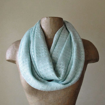 Mint Infinity Scarf - Lightweight Sweater Knit Circle Scarf - Pale Mint Green Scarf - Loop Scarf