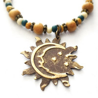 Bohemian Bracelet - Boho Chic Jewelry - Sun and Moon Charm - Brass Sun Charm - Small Bead Bracelet - Sun and Moon Gift - Crescent Moon