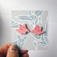 Pink Origami Crane Post Earrings Shrinky Plastic