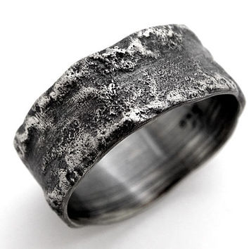 meteorite ring silver, molten silver ring, silver wedding band, unique engagement ring asteroid ring moon surface rustic wedding ring silver