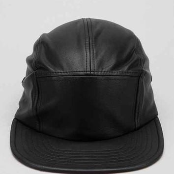 Rosin Faux-Leather 5-Panel Hat- Black One