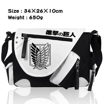 Cool Attack on Titan  no  Single Shoulder Messenger Canvas School Bags Bookbag Satchel Cosplay Anime Bags AT_90_11