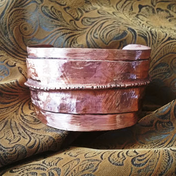 Copper Textured & Fold Formed Wide Cuff Bracelet