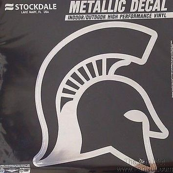 "Michigan State Spartans 12"" Large Silver Metallic Vinyl Auto Decal University Of"