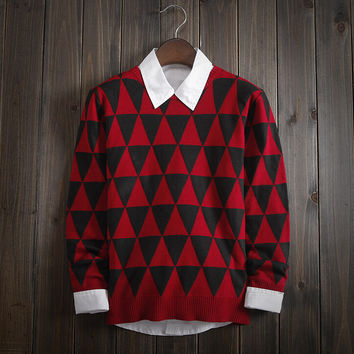 Men's Comfortable Geometric Knitted Sweater