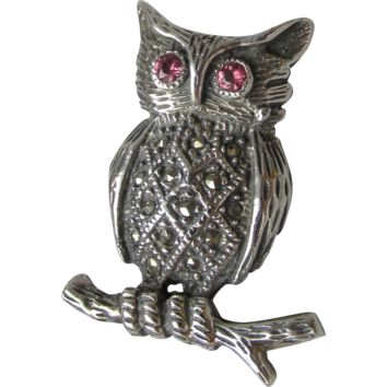 Vintage Sterling Silver, Pink Tourmailne & Marcasite OWL on a Branch Pin