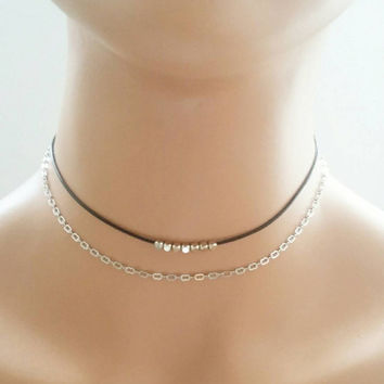 Silver choker necklace,two strand necklace,double strand choker,layered choker,layering necklace,silver chain choker,delicate chain choker