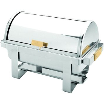 Commercial Stainless Steel 8 Qt. Full Size Golden Handle Roll Top Chafer