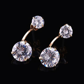 AAA Luxury Zircon Crystal Stud Earrings Rose Gold Plated Jewelry for Women