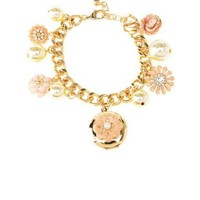Gold Flower Locket Charm Bracelet by Charlotte Russe