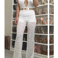 Halter Ego Jumpsuit - White - FINAL SALE